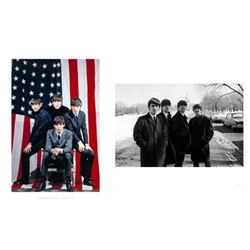 2 Beatles in US Photo Prints White House, American Flag