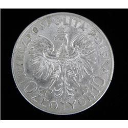 Gem Unc Poland 10 Zlotych - 1932 Silver Maiden Coin