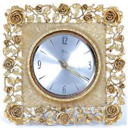 Vintage Matson Gold Floral Quartz Desk Clock