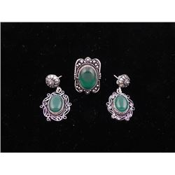 Green Onyx 3 Pc Sterling German Ring & Earrings Set