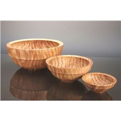 Set of Three Nested Mormon Poplar Bowls by Mike Mahoney