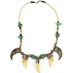 Early bear tooth, claw and turquoise necklace