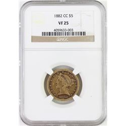 1882 CC 5$ gold coin slabbed and graded