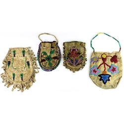 Collection of 4 early Plains beaded bags