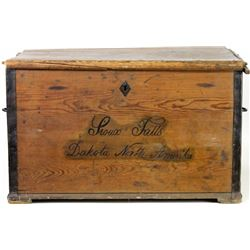 19th Centruy pine travel trunk with original