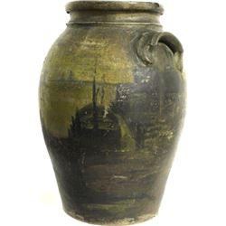 "C. 1850's stoneware jar 14"" tall hand painted"