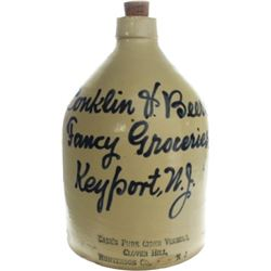 Rare cobalt script merchants jug marked Conklin