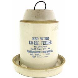 Antique Red Wing Ko-Rec bird feeder,