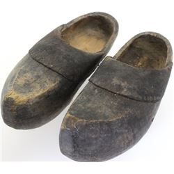 Rare wood butchers shoes or clogs, one piece