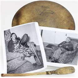 Indian drum and beater made by Jerome Standing