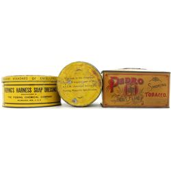 Collection of 3 antique tins includes round
