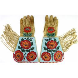 Beautiful pair fully beaded cowboy gauntlets