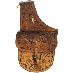 Set of floral carved saddle bags initials