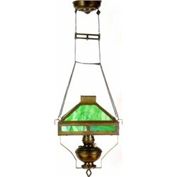 Antique kerosene pull down library lamp