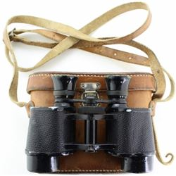 Binoculars and custom leather case stamped R.L.