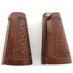 Large pair cowboy cuffs unmarked basket stamped