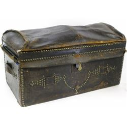 19th C. leather stagecoach trunk