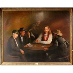 """Oil on canvas """"The Last Card Game"""" James Butler"""