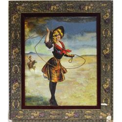 Colored cowgirl print roping the wind in