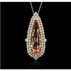 14KT Rose Gold GIA Certified 20.83 ctw Morganite and Diamond Pendant With Chain
