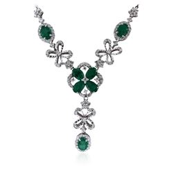 14KT White Gold 2.80 ctw Emerald and Diamond Necklace