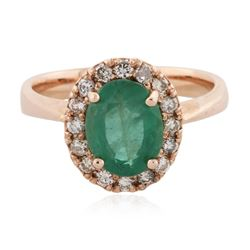 14KT Rose Gold 1.74 ctw Emerald and Diamond Ring