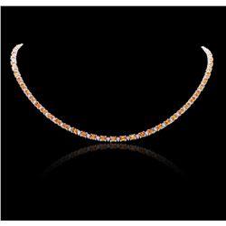 14KT White Gold 14.30 ctw Orange Sapphire and Diamond Necklace