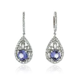 14KT White Gold 4.62 ctw Tanzanite and Diamond Earrings