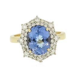 14KT Yellow Gold 3.20 ctw Tanzanite and Diamond Ring