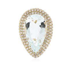 14KT Yellow Gold 15.52 ctw Aquamarine and Diamond Ring