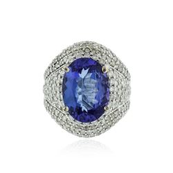 14KT White Gold 6.55 ctw Tanzanite and Diamond Ring