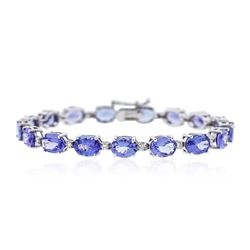 14KT White Gold 21.76 ctw Tanzanite and Diamond Bracelet