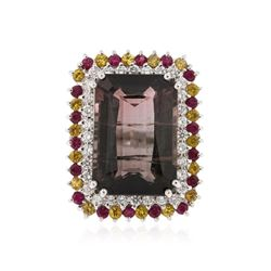 14KT White Gold 23.93 ctw Tourmaline, Ruby, Sapphire and Diamond Ring