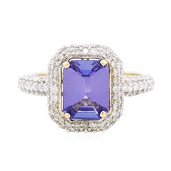 14KT Two-Tone Gold 2.87 ctw Tanzanite and Diamond Ring