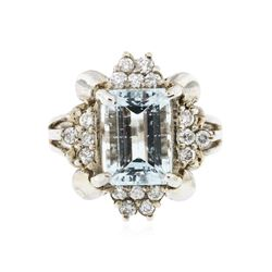 14KT White Gold 3.51 ctw Aquamarine and Diamond Ring