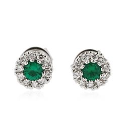 14KT White Gold 0.40 ctw Emerald and Diamond Earrings