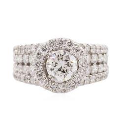 14KT White Gold EGL Certified 3.10 ctw Diamond Ring