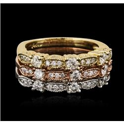 14KT Yellow, White, And Rose Gold 0.80 ctw Diamond Rings