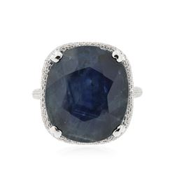 18KT White Gold 17.38 ctw Sapphire and Diamond Ring