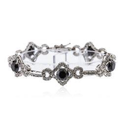 14KT White Gold 14.18 ctw Black Diamond Bracelet
