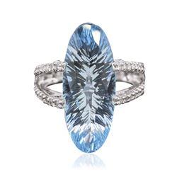 14KT White Gold 14.00 ctw Blue Topaz and Diamond Ring