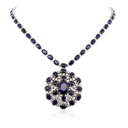 14KT White Gold 71.36 ctw Sapphire and Diamond Necklace