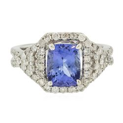 14KT White Gold 2.11 ctw Tanzanite and Diamond Ring