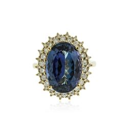 14KT Yellow Gold 8.67 ctw Tanzanite and Diamond Ring