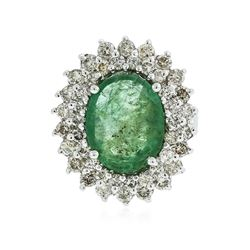 14KT White Gold 4.68 ctw Emerald and Diamond Ring