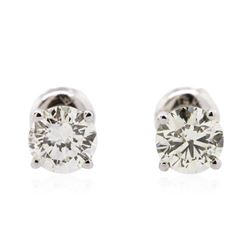14KT White Gold 1.34 ctw Diamond Solitaire Earrings