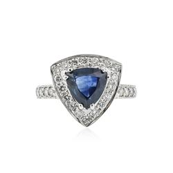 18KT White Gold 2.25 ctw Sapphire and Diamond Ring