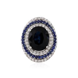 18KT White Gold GIA Certified 14.21 ctw Sapphire and Diamond Ring