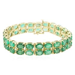 14KT Yellow Gold 28.52 ctw Emerald Bracelet