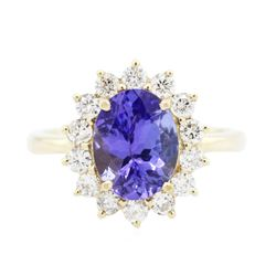 14KT Yellow Gold 2.19 ctw Tanzanite and Diamond Ring